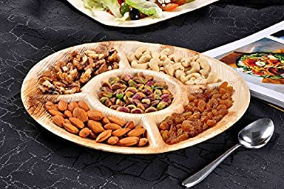 "Green Atmos 10"" Round 5 Compartment Party/ Wedding Palm Leaf Plate -100 Pcs (biodegradable/ Eco-friendly/ Disposable)"