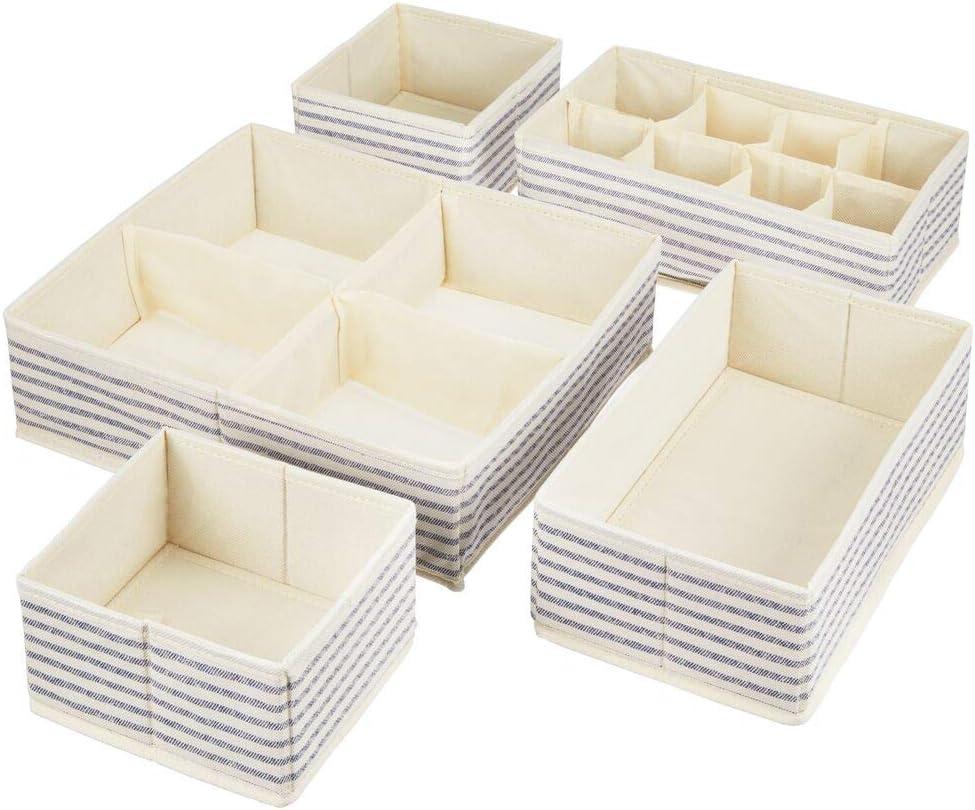 Dresser Tops Drawers Cream//Espresso Brown Set of 5 mDesign Soft Fabric Dresser Drawer and Closet Storage Organizer Bins for Bedroom Closet