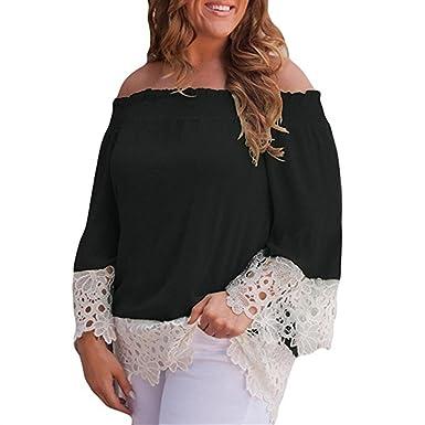 SKNSM Ropa de mujeres Blusa casual para mujer Costura de encaje Hombro Camiseta Blusa Tops (Color : As Shown, tamaño : Talla única): Amazon.es: Ropa y ...