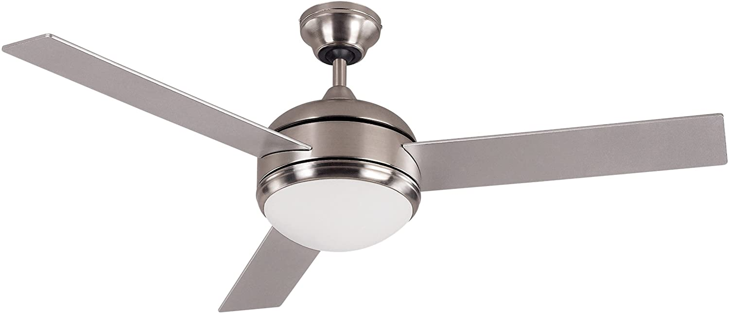 Canarm LTD Calibre BPT 48 Frosted Glass 1 Bulb Light Kit, 48-Inch Ceiling Fan with 3 Blades, Grey/White