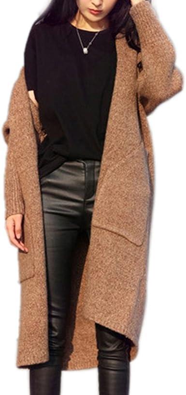 Cardigan Chandail Femme Manteau Mi long Mélange de Laine Mode Trench Coat Veste en Tricot Épaise Manteaux Chaud Gilet Pull Automne Hiver Blouson