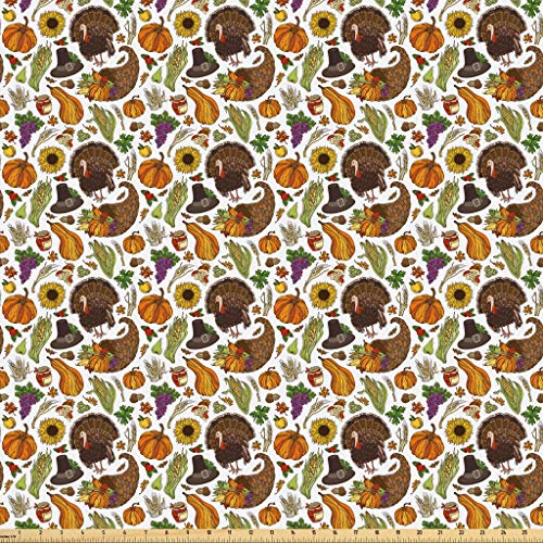 Lunarable Thanksgiving Fabric by The Yard, Boundless Harvest Theme Corn Grapes Pilgrim's Hat Turkey Wheat Festive Food, Microfiber Fabric for Arts and Crafts Textiles & Decor, 3 Yards, Multicolor from Lunarable