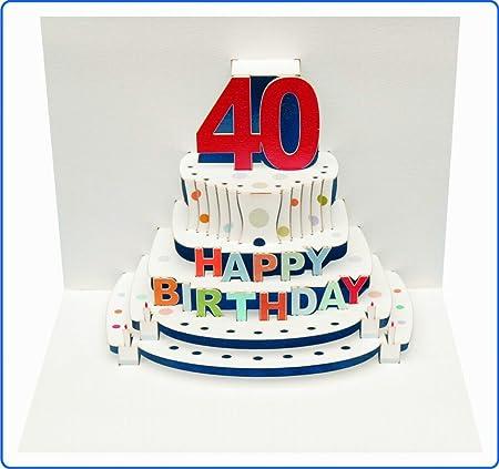 Tarjeta de felicitación de cumpleaños pop-up en 3d 40 cumpleaños tarta de cupones 16 x 11 cm
