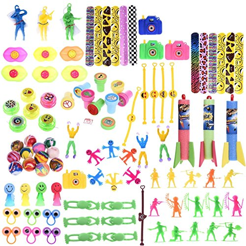 100 PCS Fun Little Toys Accessory Assortment Party Favor Boxes Including Slap Bracelets, Mini Cameras,Stamps,Yo-Yos,Wall Climbing And More for Easter Egg Fillers,Goodie Bags,Birthday Party