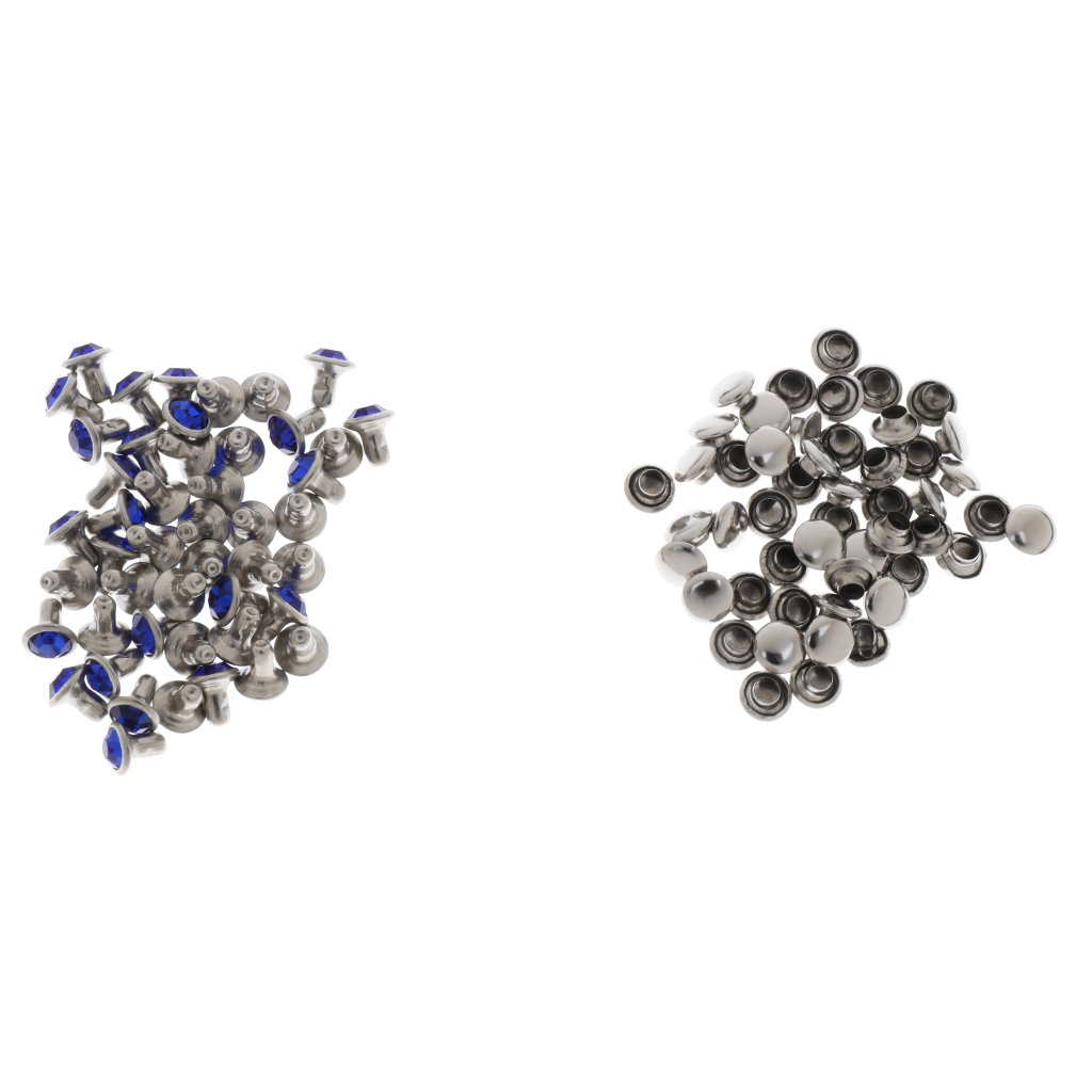 Jili Online 50 Pieces 6mm/7mm/8mm/9mm Mazarine Rhinestone Rivet Punk Crystal Rivet Buttons Silver/Black Color Metal Spikes and Studs For Clothing Shoes Bag Leather Craft Decorative - silver, 6mm