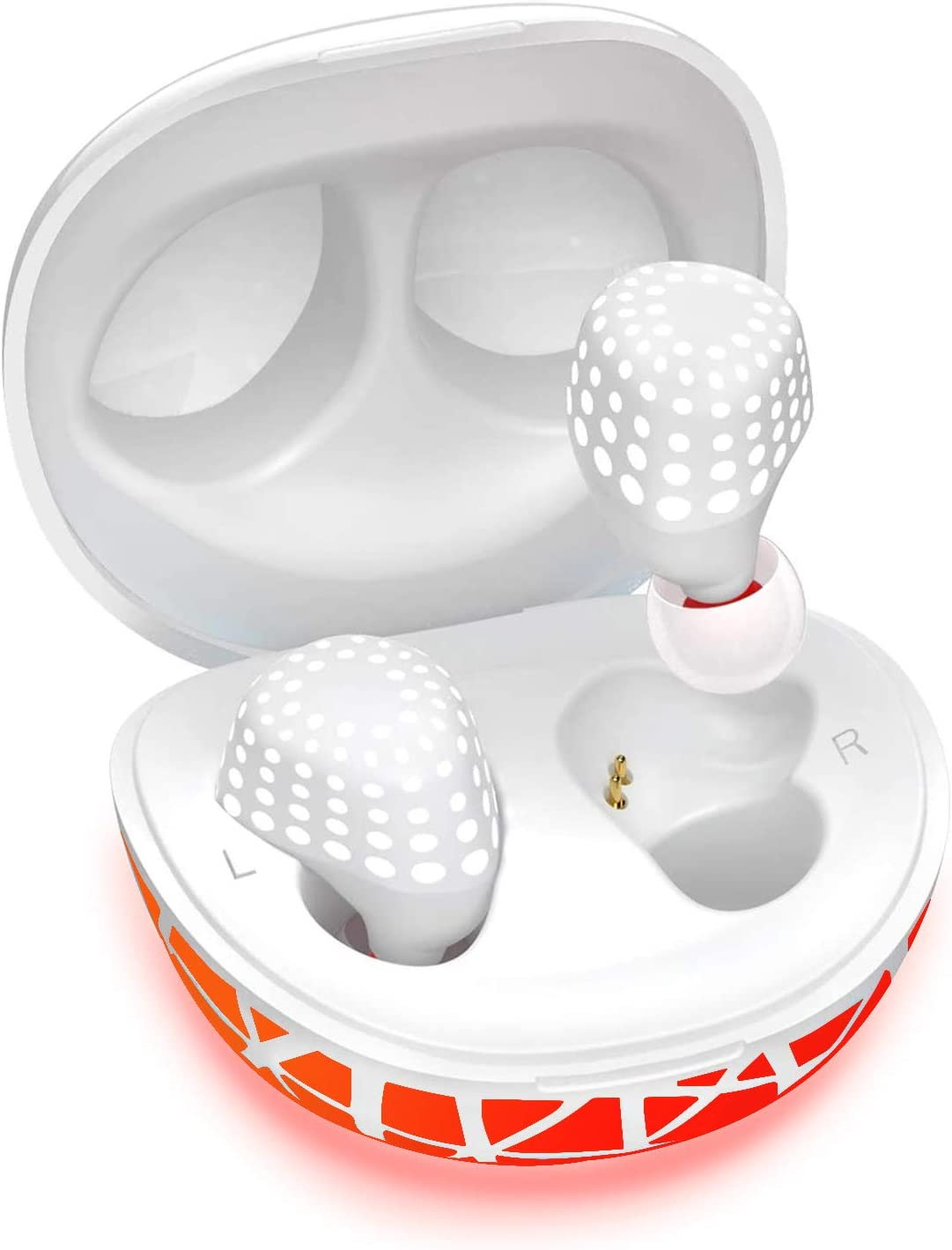 Wireless Earbuds, AMORNO True Bluetooth Headphones in-Ear Deep Bass Noise Cancelling Earphones Mini Sweatproof Sports Headsets with Charging Case Built-in Mic (White)