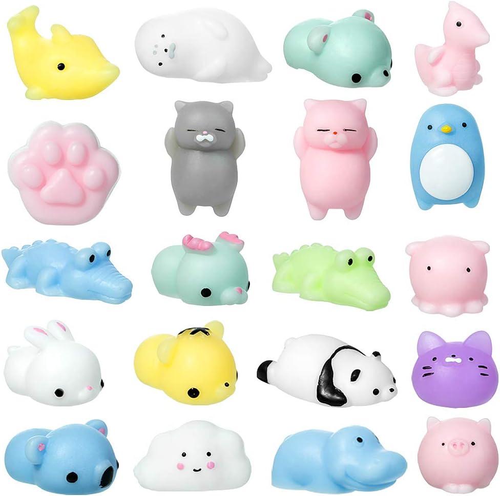 MOOKLIN ROAM 20 St/ück Squeeze Squishy Spielzeug Anti-Stress Squeeze Toy Relief Squishies Tier Party Geschenke f/ür Kinder Jungen M/ädchen