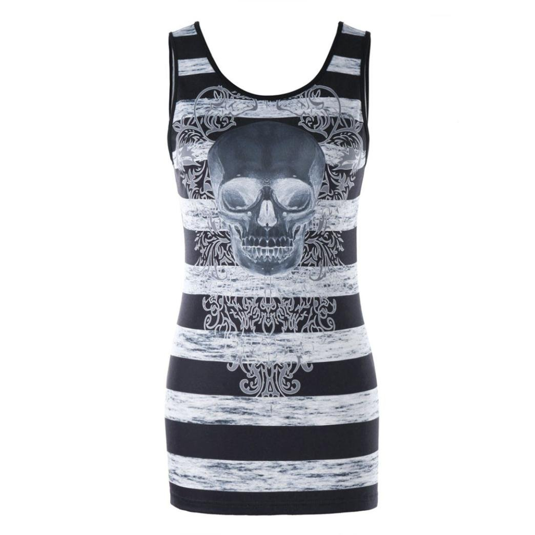 Paymenow Loose Sleeveless Tops Casual Skull Print Striped Summer Backless Vest Tank Tops for Women (XXL, Black)
