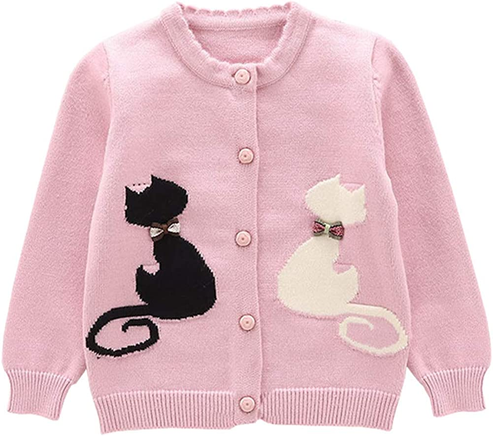 TAIYCYXGAN Baby Little Girls Cotton Knit Cardigan Sweaters Kids Cute Cat Sweater Jacket Button Down
