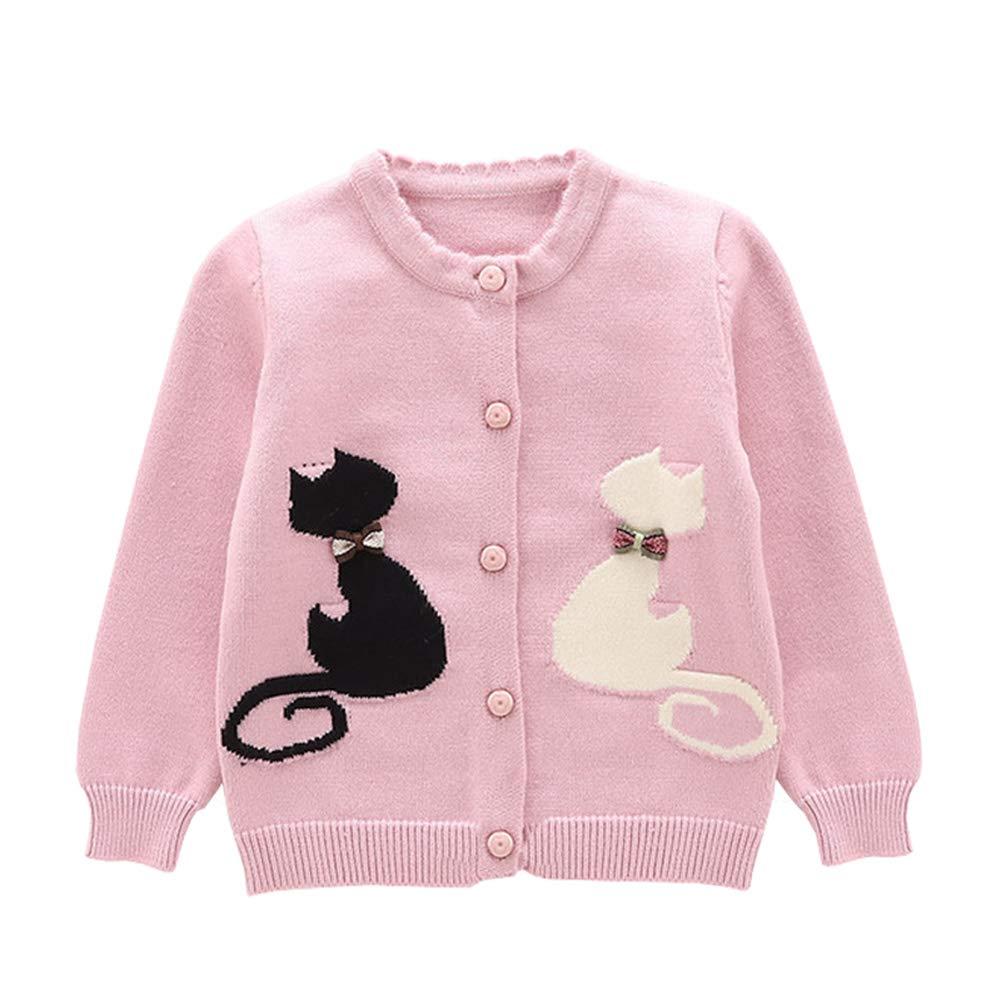 Baby Little Girls Cotton Knit Cardigan Sweaters Kids Cute Cat Sweater Jacket Button-Down Pink 130