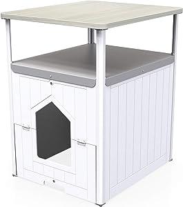 Palram Max Cat Litter Box Furniture, Hidden Tall Litter Box Cabinet Washroom Litter Tray Enclosure for Small Medium Cats, White