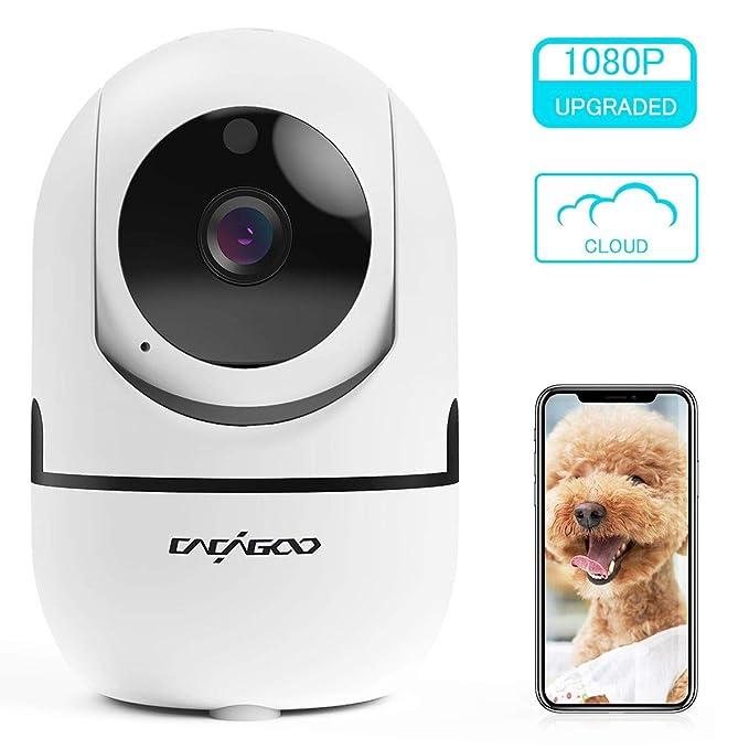 Cámara de Vigilancia 1080P Wifi con Visión Nocturna, Cámara de Mascota,Audio de 2 Vías, Giro / Inclinación, Detección de Movimiento, Alarma Email, ...