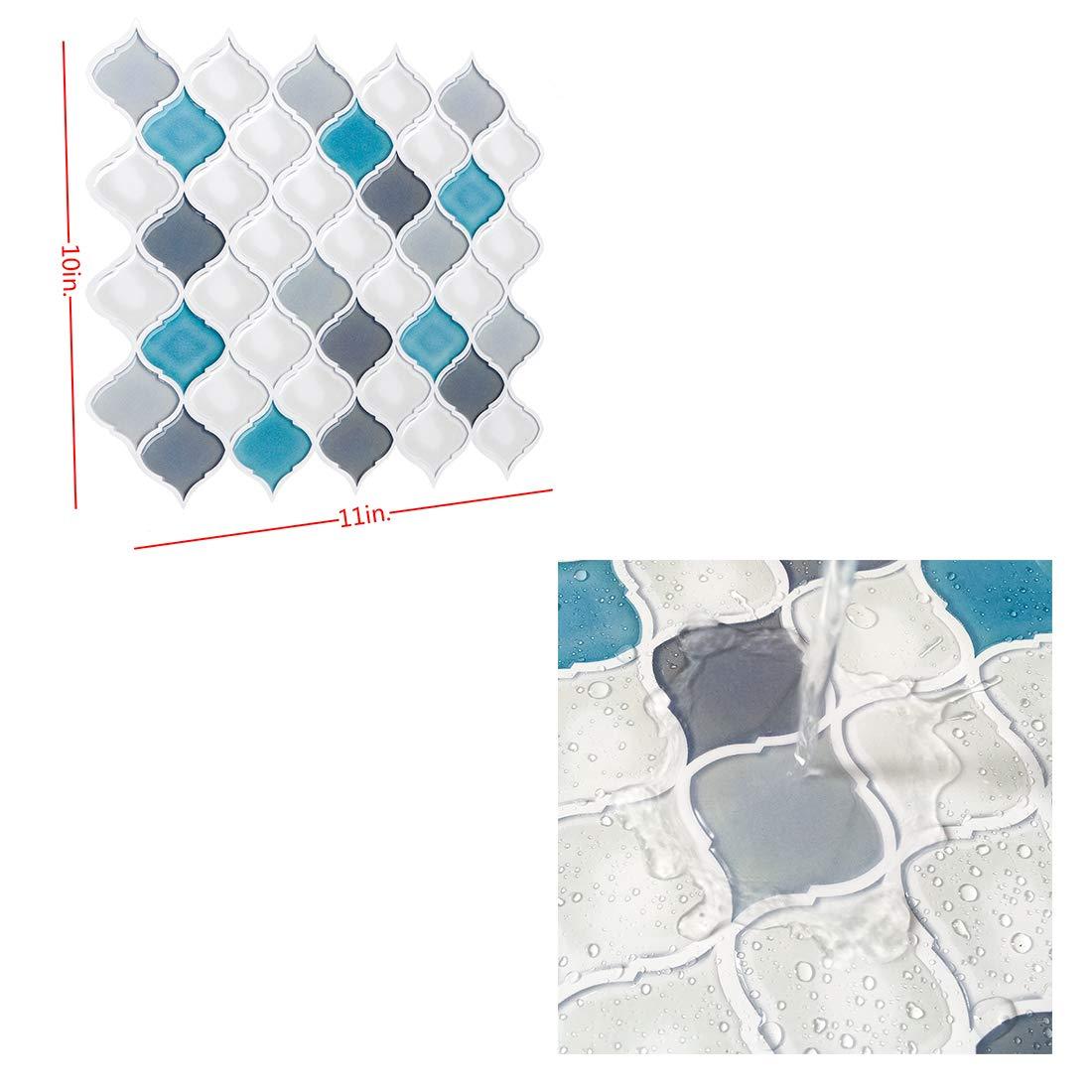Peel and Stick Wall Tile for Kitchen Backsplash-Slant Blue&White Arabesque Tile Backsplash-Kitchen Backsplash Tiles Peel and Stick Wall Stickers,6 Sheets by FAM STICKTILES (Image #2)