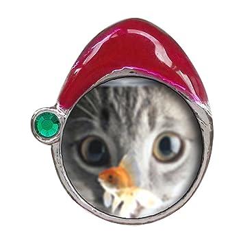 Pecera y gato verde esmeralda de piedra de cristal rojo sombrero de Santa granos del encanto pulseras: Amazon.es: Hogar