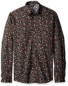 Just Cavalli Men's Long Sleeve Button Down Shirt, Black Variant, 56/XX-Large