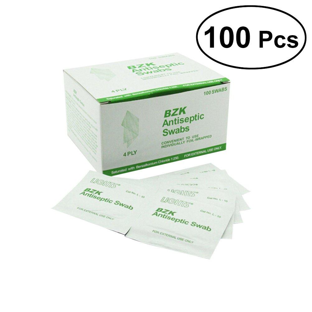 Healifty 100 stücke BZK Antiseptische Towelettes Outdoor Notfall Einweg Sterilisation Erste Hilfe Tücher