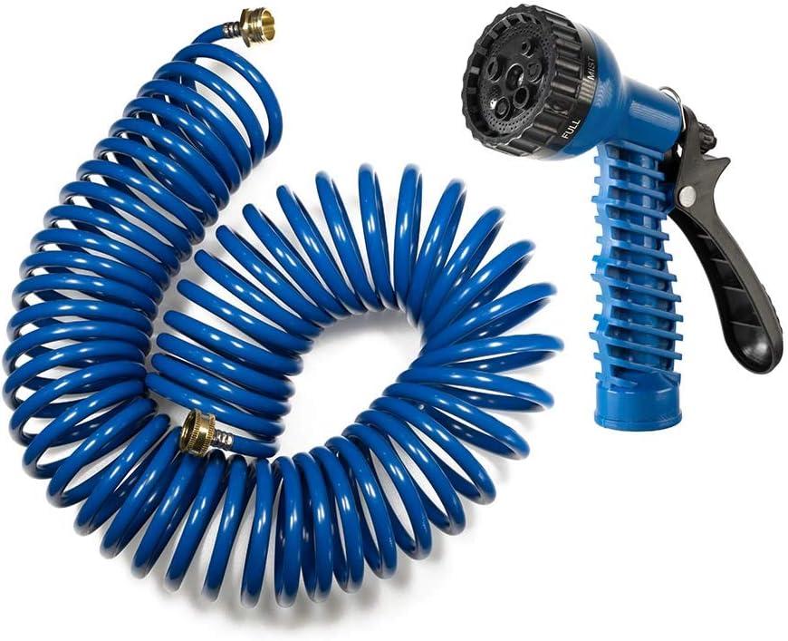 Orgrimmar 50FT Heavy-Duty EVA Coil Garden Hose with 7-Pattern Spray Nozzle,Retractable,Corrosion Resistant Garden Hose (50FT, Blue)