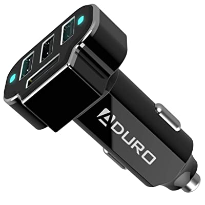 Aduro 4 Port Car Charger Adapter, 12V Fast Car Charger USB Adapter Power Station 5.2A/26W Output (Black)