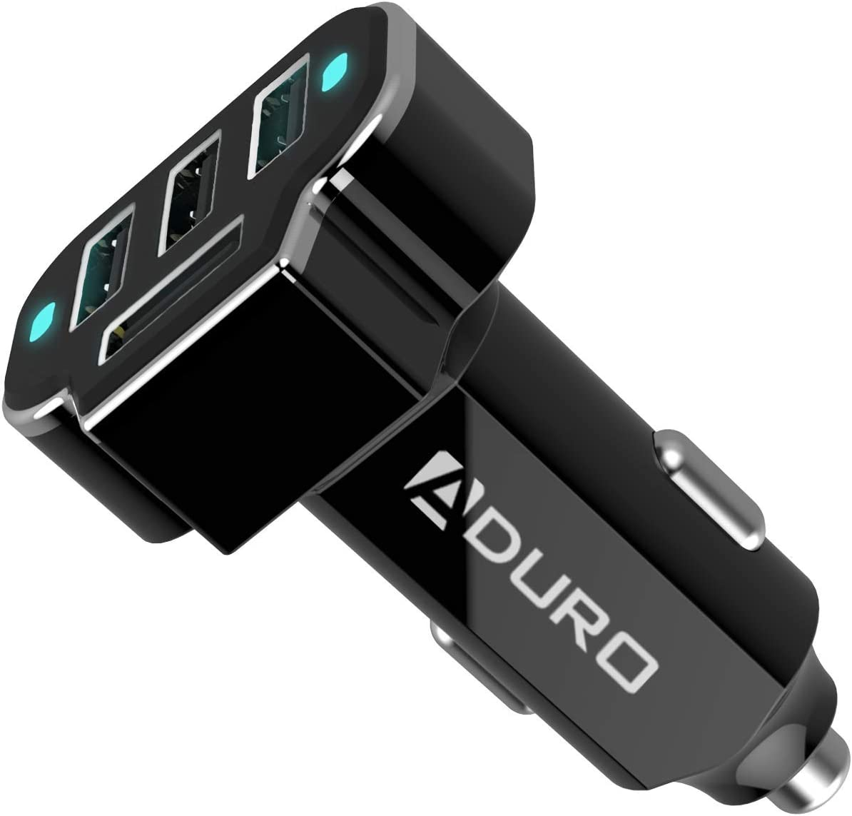 Aduro 4 Port Car Charger USB Adapter, 12V Fast Car Charger USB Adapter Power Station 5.2A/26W Output (Black)