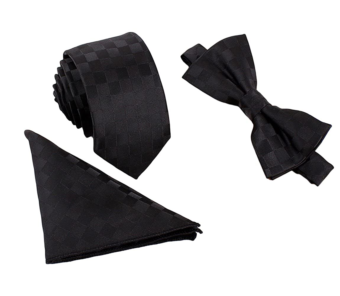 Lingswallow Mens Woven Party Self Bow Tie Pocket Square Handkerchief 3 Pieces