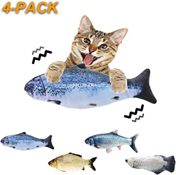 Moves by Itself Indoor Interactive Dancing Fish for Kitty Catnip Toys Perfect for Biting 4 Packs Chewing and Kicking Electric Fish Cat Toy