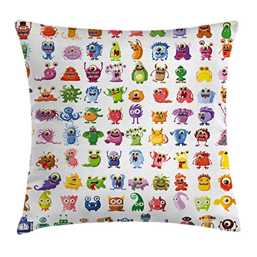 Funny Throw Pillow Cushion Cover by Ambesonne, Little Fictional Fantasy Cartoon Characters Monsters Costumes Robots Toys Aliens Kids, Decorative Square Accent Pillow Case, 24 X 24 Inches, (60's Diner Girl Costume)