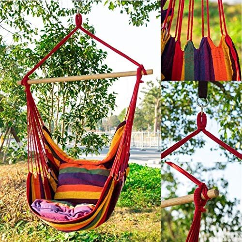 wumedy Hanging Rope Chair, Swing Seat Cotton Canvas 150Kg Weight Bearing Hammock for Indoor Outdoor Garden Yard