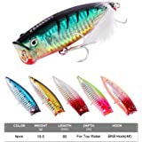 Proberos Popper Fishing Lures Set Topwater Baits With Ultra Strength Treble Hooks Fishing Tackle Set