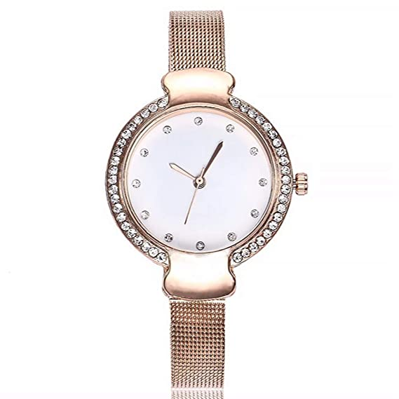 ZXMBIAO Reloj De Pulsera Reloj De Diamantes De Imitación para Mujer Moda Casual Relojes De Cuarzo Reloj De Mujer, Oro Rosa: Amazon.es: Relojes