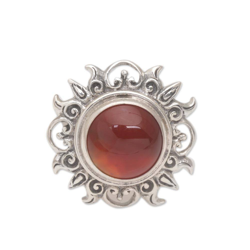 NOVICA Carnelian .925 Sterling Silver Cocktail Ring 'Light Of The Universe'