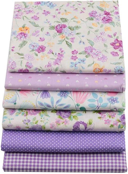 Tela de algodón con estampado floral morado para patchwork ...
