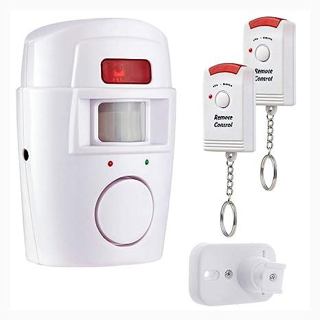 Heaviesk PIR Sensor de Movimiento Alarma Inalámbrico Garaje doméstico Caravan 2 Controles remotos Seguridad PIR Detectores