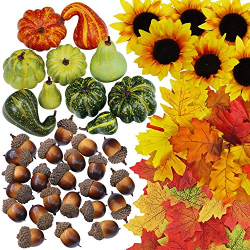Supla 451 Pcs Fall Harvest Table Decor Vase Filler Bowl Filler Mini Pumpkin Gourd Acorns Silk Sunflower Heads Autumn Leaves Oak Leaf Maple Leave for Falling Wedding Thanksgiving Halloween Party Decor