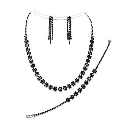 e701e440c Black diamante necklace bracelet and earring set: Amazon.co.uk: Jewellery