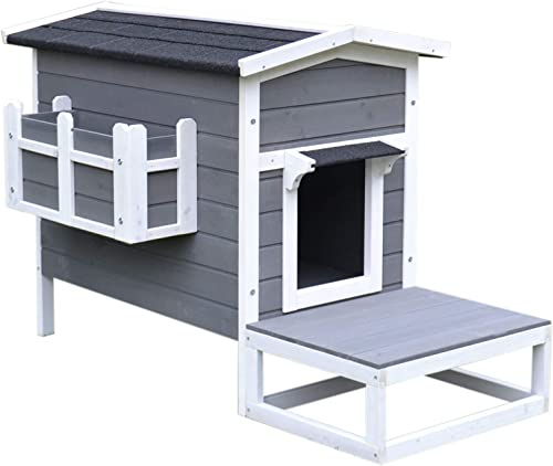 PawHut Wooden Large Deluxe Elevated Indoor Outdoor Cat House with Porch and Balcony – Dark Grey White