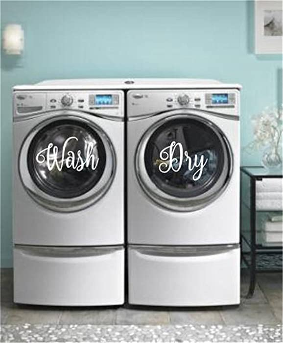 Wash Dry Decal for Laundry Room Home Decor Washer Decal Dryer Decal Stickers Laundry Decal