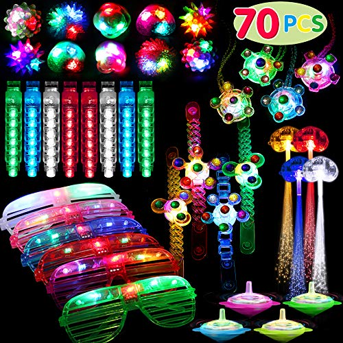 70 Pack Light Up Toys Party Favors Glow in the Dark Party Supplies for Boys Girls Kids Adults with 6 Flashing Glasses 8 Jelly Rings 4 Hand Spin Necklaces 4 Hand Spin Bracelets 40 Finger Lights and 4 Fiber Optic Hair Lights 4 spinning top