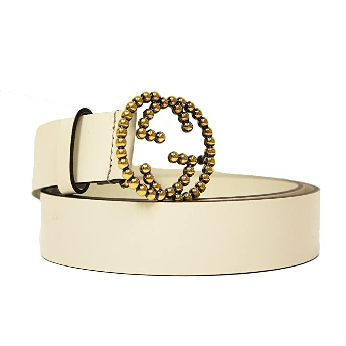 dcdd6682d Gucci Gold Studded Interlocking GG Logo Buckle Ivory Off White Leather Belt  282323: Amazon.ca: Clothing & Accessories