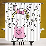 Waterproof Shower Curtain 3.0 by SCOCICI [ Kids,Cute Rock Star Rabbit Bunny with Speakers Music Notes Girls Humor Heart Cartoon,Baby Pink Yellow ] Polyester Fabric Bathroom Shower Curtain