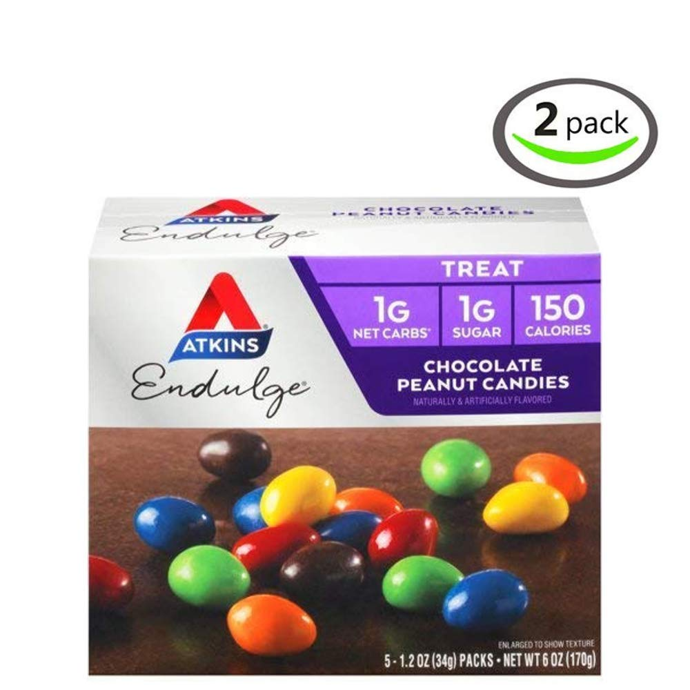 Atkins Endulge Treat, Chocolate Peanut Candies, Keto Friendly, 1.2 ounce, 5 ct - Pack of 2 by Atkins
