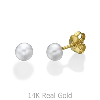 725e11257 14K Solid Yellow Gold Pearls Round Screw Back Stud Earrings for Baby Girls  Gift Kids Children