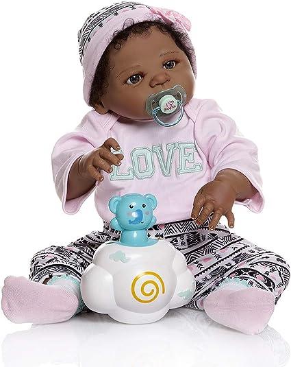 Biracial Reborn Baby Doll 22/'/' Full Body Silicone Lifelike African American Girl