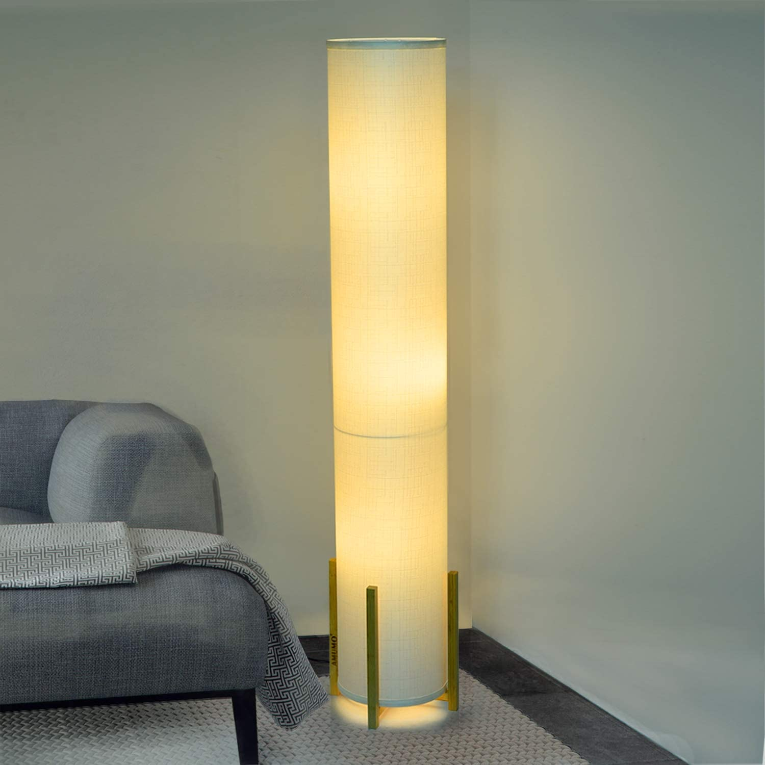 Floor Lamp, AMUMO Decor Modern Tall Floor Lamps for Bedrooms - Contemporary Standing Tower Soft Light for Living Room Office Warm Atmosphere - Wood Frame, White Fabric Shade with 3 LED Bulbs