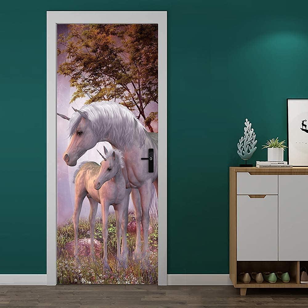 MISSSIXTY 3D Unicorn Door Mural Decals Wall Murals Wallpaper Vinyl Removable Stickers for DIY Home Decor Poster Decoration 30.3