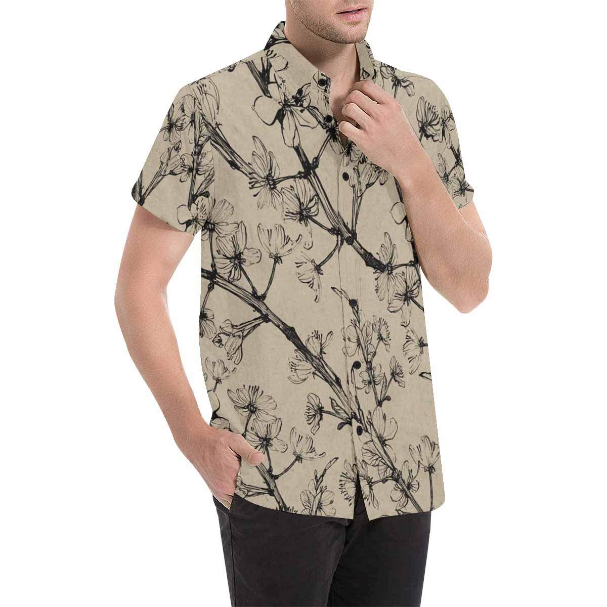 InterestPrint Cherry Tree Flowers Short Sleeve Button Down Casual Shirt for Men