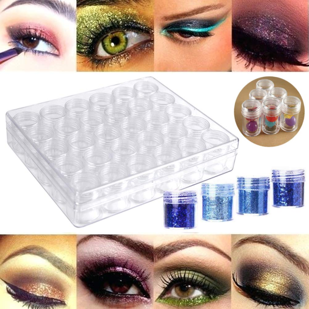 Embroidery Diamond Storage Box, 30PCS Small Clear Plastic Bead Containers with Lid for Jewelry Painting DIY Art Craft Rhinestones Sewing Cosmetic Nail Glitter Powder