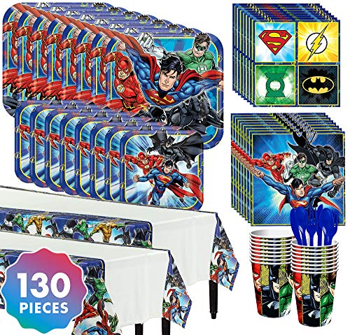 Party City Justice League Complete Tableware Kit for 16 Guests, 130 Pieces, Includes Plates, Napkins, Cups, and Utensils -