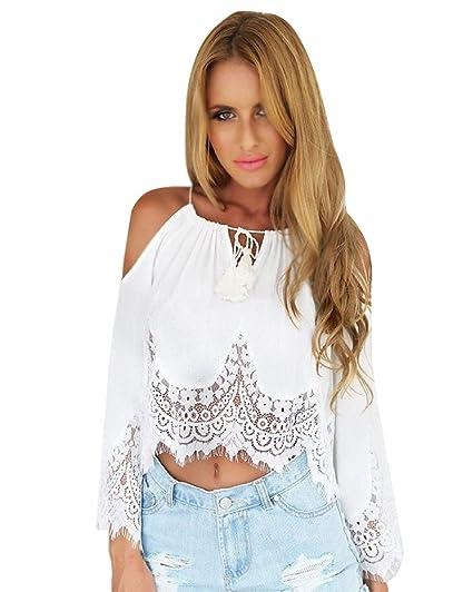 Minetom Mujer Moda Tejer Cordón Tapas Fuera del Hombro Manga Larga Camisa Delgado Blusa Blanco 34