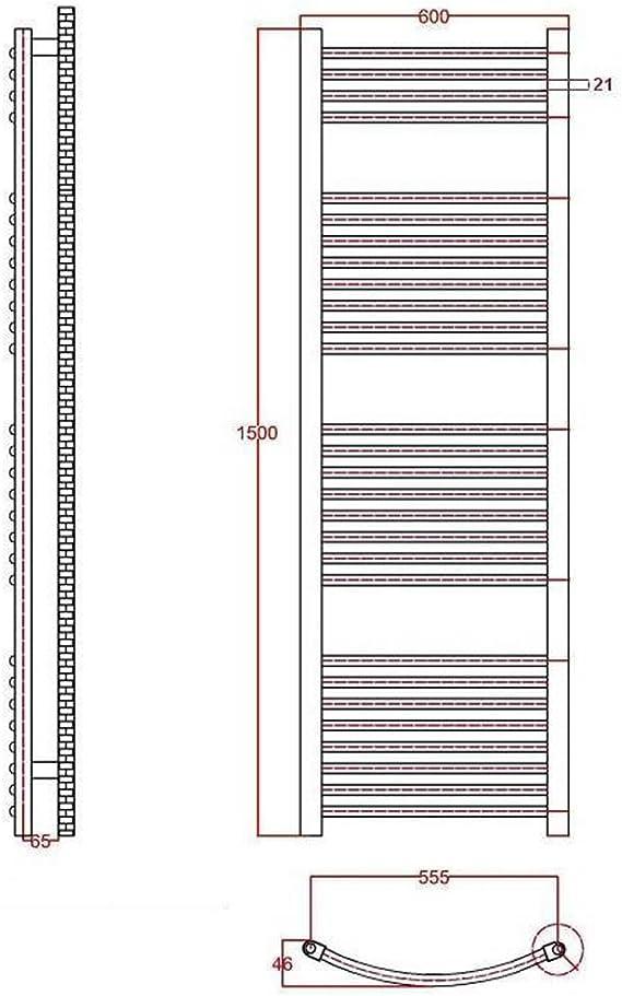 Calentador Toallas Decorativo 535 Vatios Calefacci/ón Central Agua Radiador Toallero Plano en Acero Cromo Para Ba/ño Montaje Mural 1500 x 600 mm 28 Barras Horizontales REBAJAS