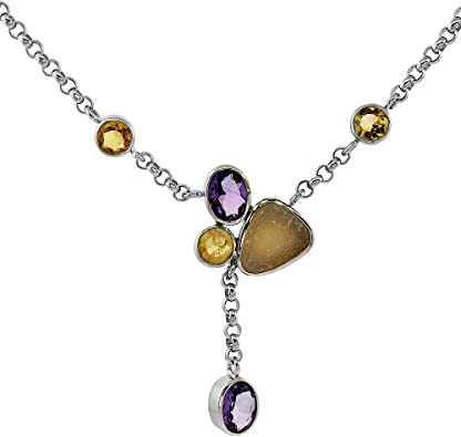 Chain necklace with Citrine and Amethyst.